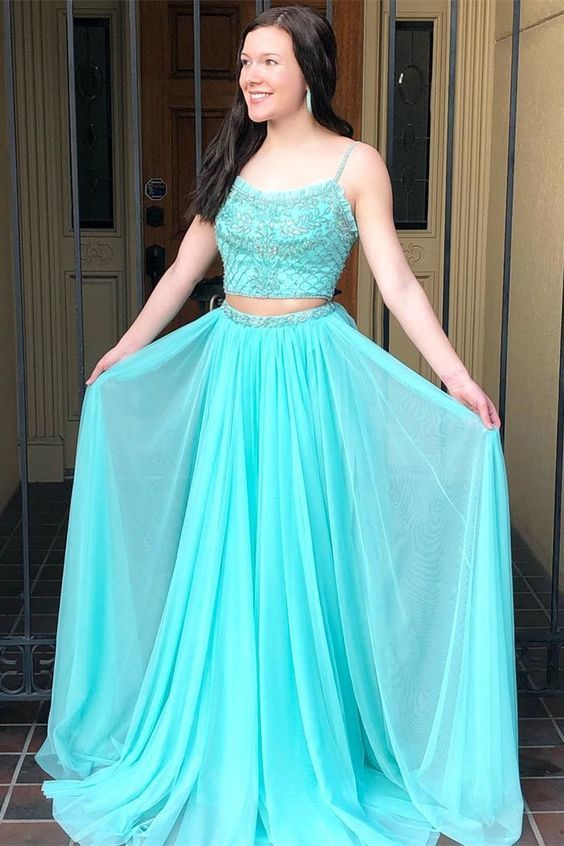 Princess Two Piece Blue Long Prom Dress with Spaghetti Straps