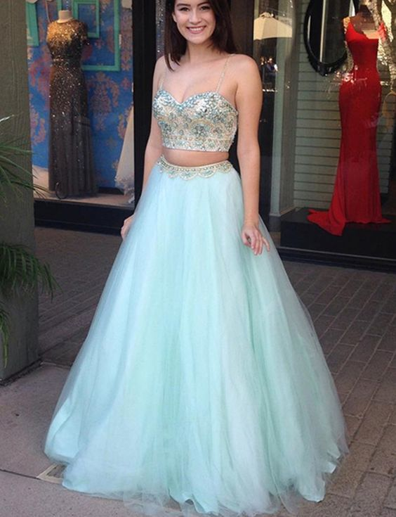 Two Piece Prom Dresses Long Beading Mint Evening Gowns Spaghetti Straps