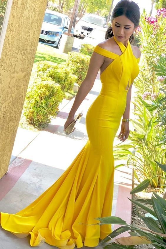 Mermaid Halter Backless Sweep Train Yellow Satin Prom Dress with Keyhole