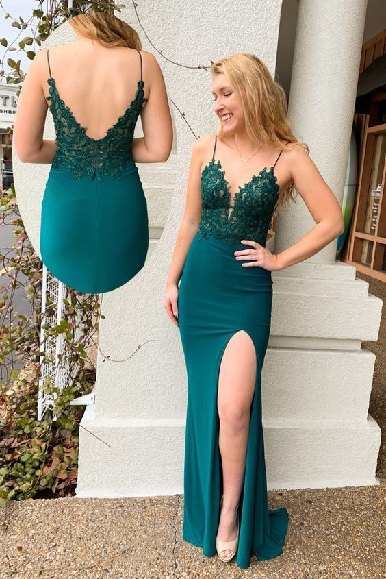 Mermaid V-Back Long Teal Prom Dress with Slit