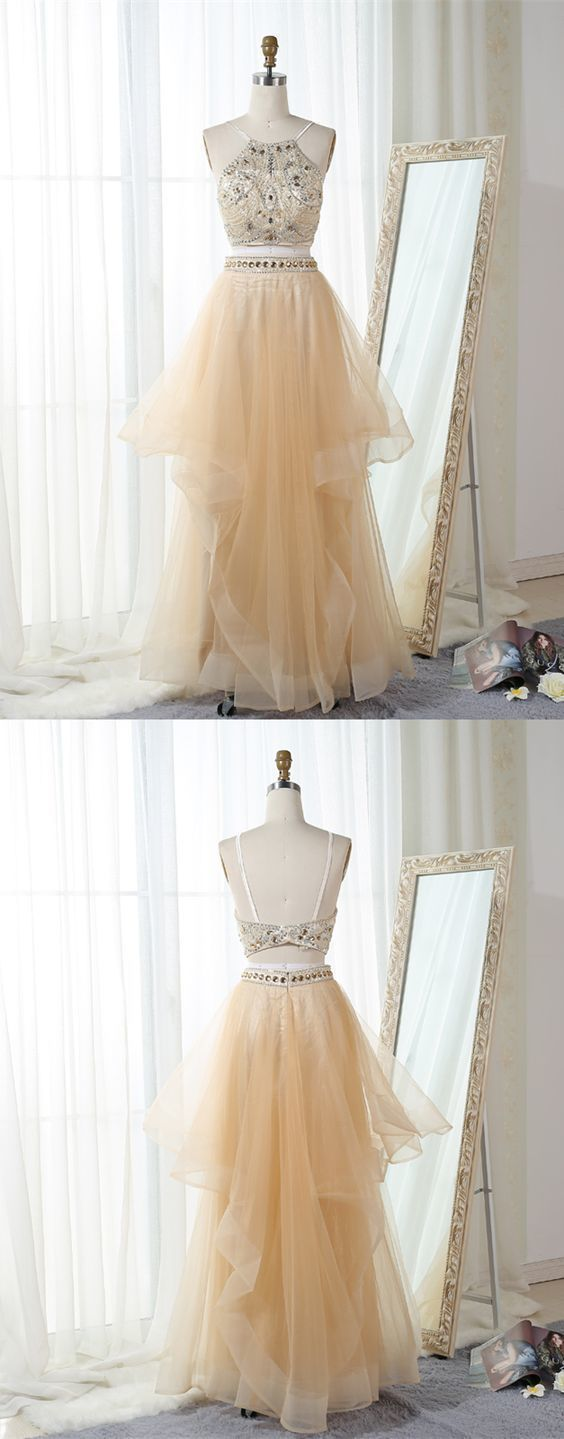 Gorgeous Two Piece Bateau Floor-Length Beaded Backless Champagne Tulle Prom