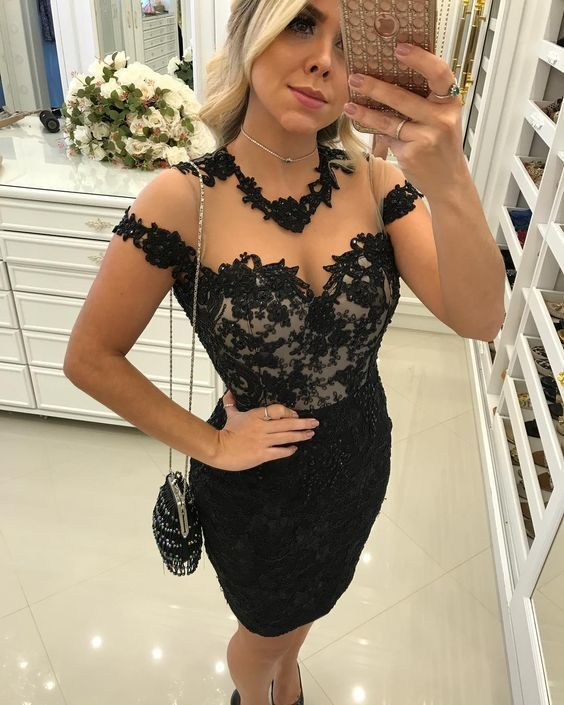 Charming Prom Dress, Black Appliques Lace Short Prom Dresses, Sexy Prom Dress,