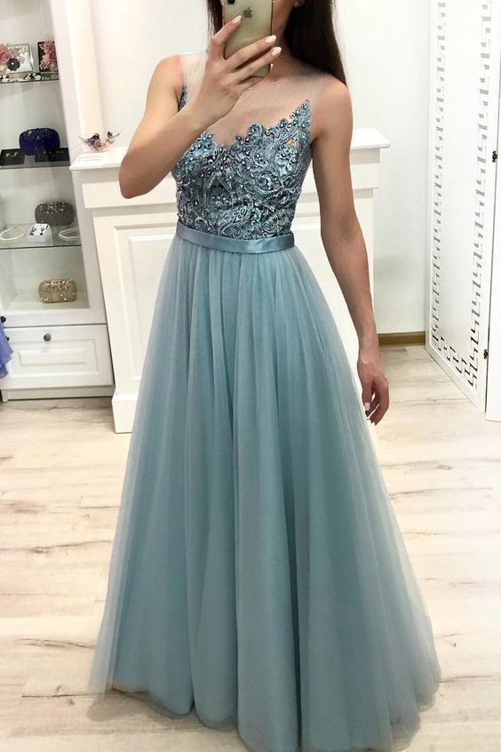 Tulle Long Prom Dress Illusion Jewel Neck Beading with Sheer Back