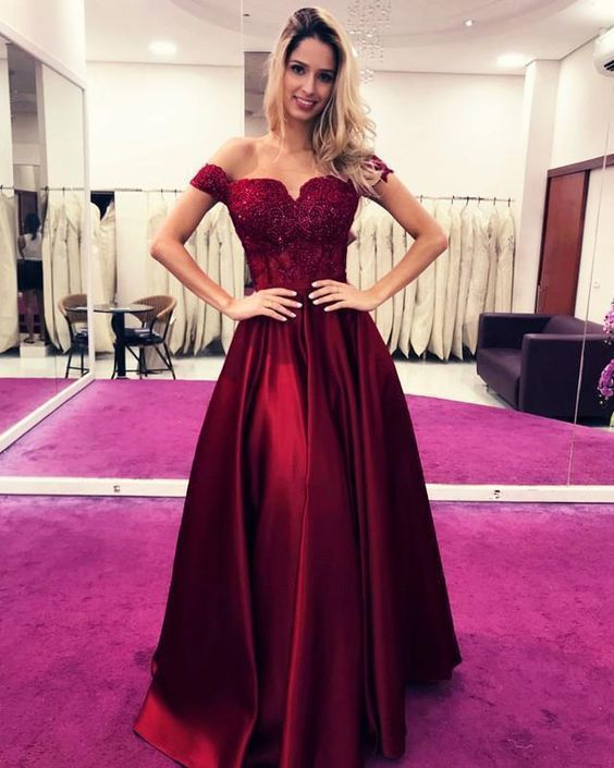 Charming Off the Shoulder A Line Prom Dress with Appliques, Formal Evening Gowns
