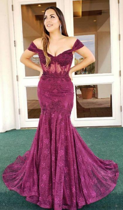 Elegant Mermaid Fuchsia Long Prom Dress Party Dress