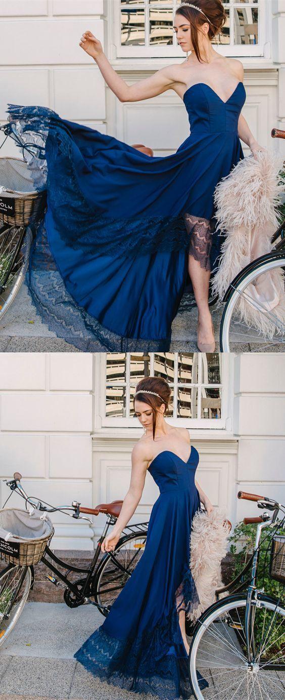 Sweetheart navy blue long prom dress party dress formal evening dress