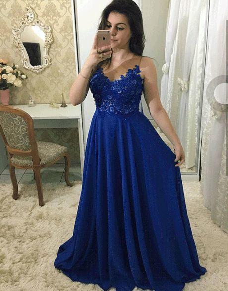 Blue chiffon lace long prom dress, evening dress