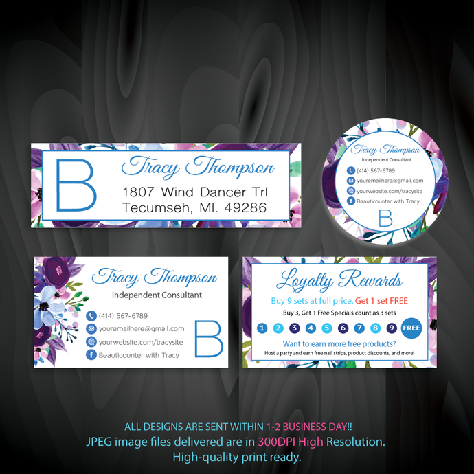 Beautycounter Marketing Kit, Beautycounter, Business Card, Watercolor