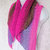 Shawlette, crocheted, In The Pink with Purple Color Stripes lightweight acrylic