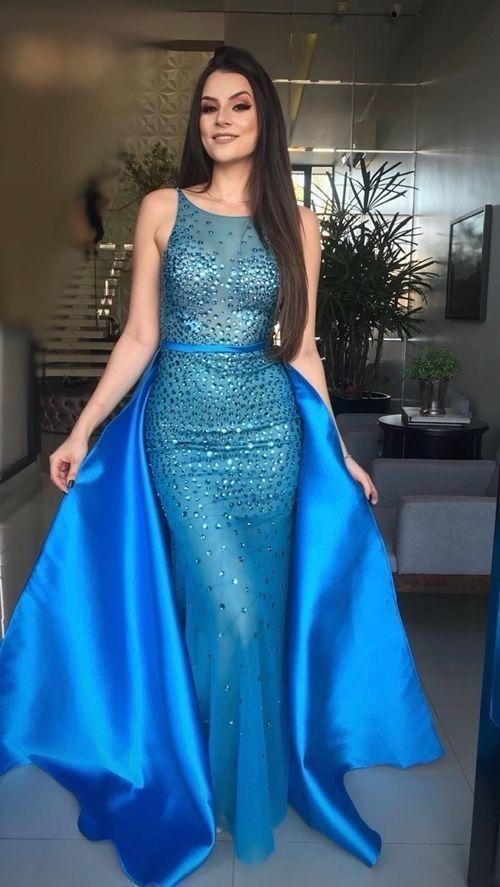Glamorous Mermaid Blue Prom Dress, long prom dress, evening dress,Ball Gown prom