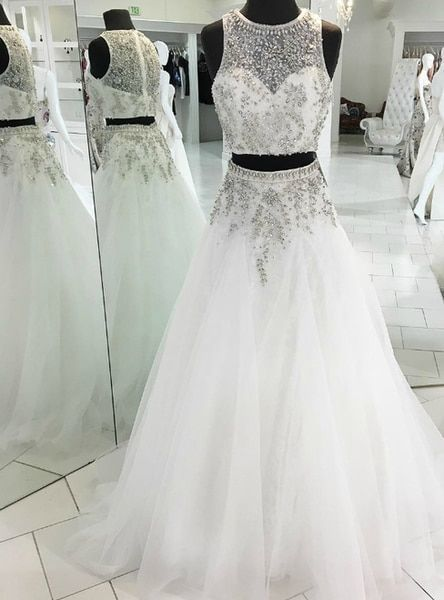 Beautiful Custom Made Beading Crystal Sparkly A-Line White Tulle Two Piece Prom