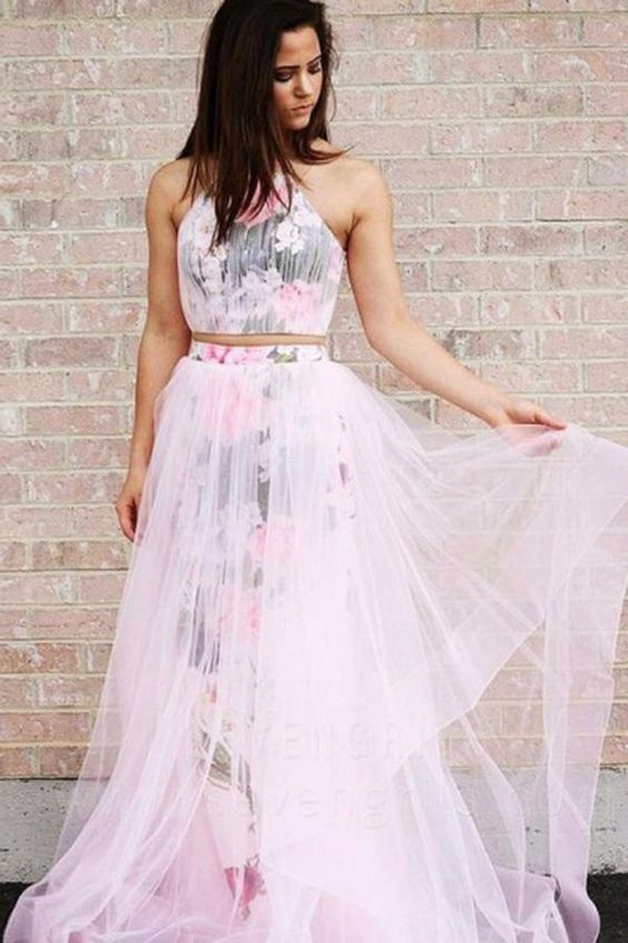 Gorgeous Princess A Line Halter Sleeveless Floor Length Floral Pink Prom Dress