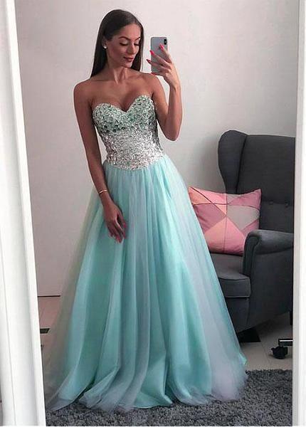 Stunning Tulle Sweetheart Strapless Green Beading Floor-length A-line Prom Dress