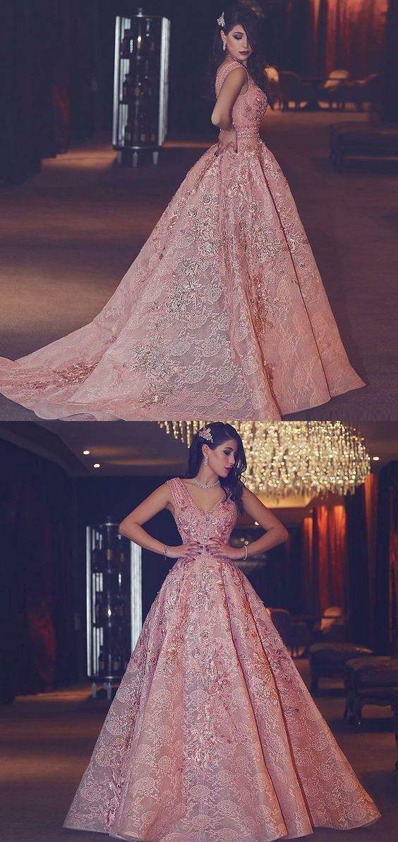 Luxurious Charming A-Line V-Neck Floor-Length Pink Lace Prom Dress with