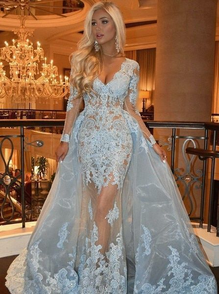 Gorgeous Custom Made Blue Lace Mermaid V-neck Long Sleeves Prom Dress With