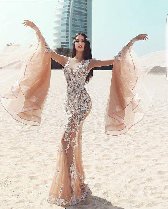 Glamorous Beautiful Customized Mermaid Sweetheart Sweep Train Lace Prom Dress