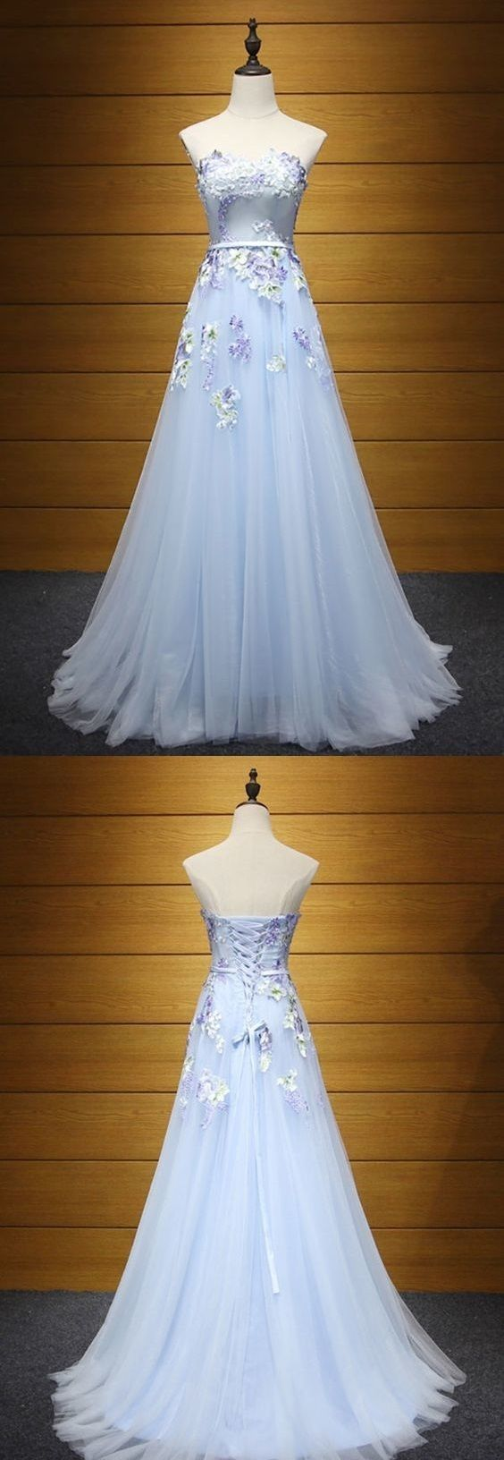 Beautiful Blue A Line Long Tulle Prom Dress With Flowers Sweetheart With