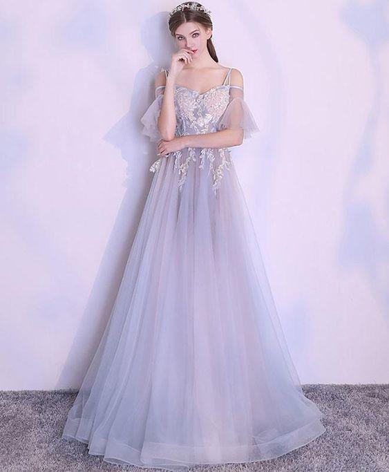 Unique gray tulle lace applique long prom dress, gray evening dress