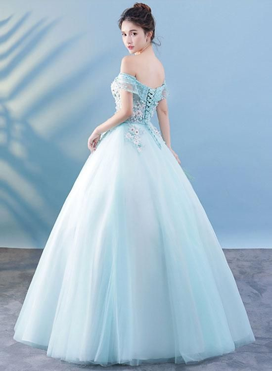 Light blue lace tulle long prom dress, lace evening dress