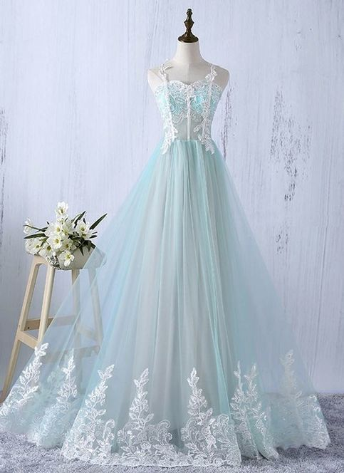 Sweetheart neckline evening gowns,sexy prom gowns, custom made prom, mint tulle