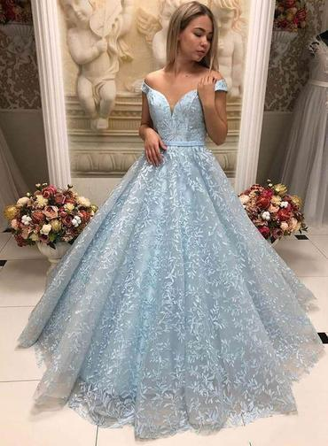 Baby Blue Lace Appliques V Neck Off Shoulder Ball Gown Prom Dress, Formal  Evening Gown