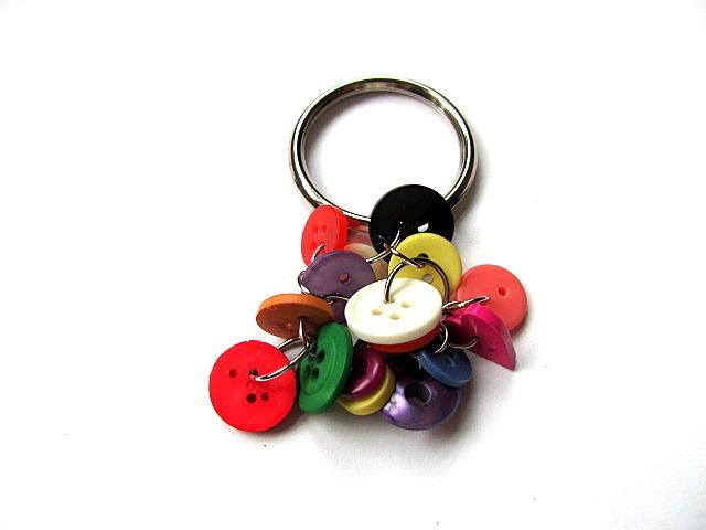 Rainbow Button Key Ring Key Chain FREE US Shipping