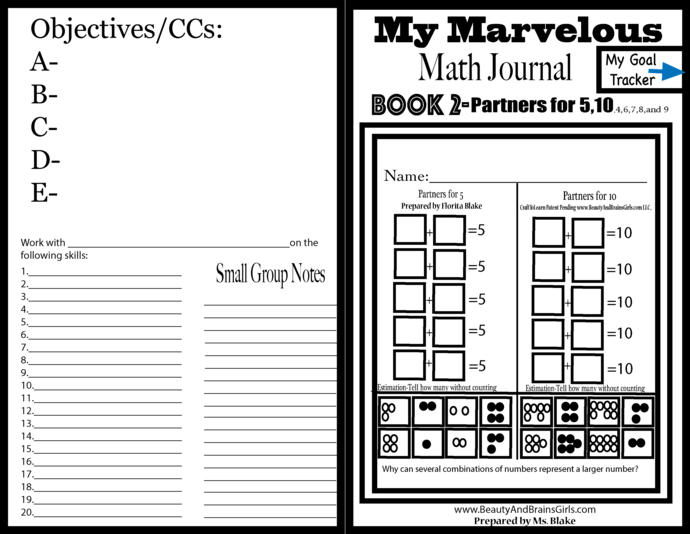BOOK 2 Printable Math Journal-Representing and Representing  Number 5, 10, 8,9