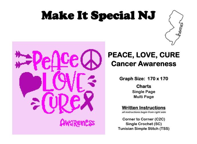 Peace, Love, Cure - Awareness Afghan
