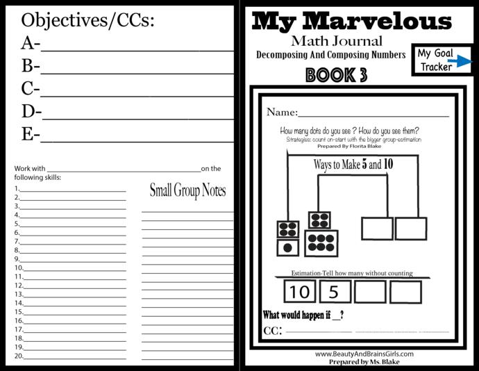BOOK 3 -Printable Math Journal-Representing and Representing  Number 5, 10