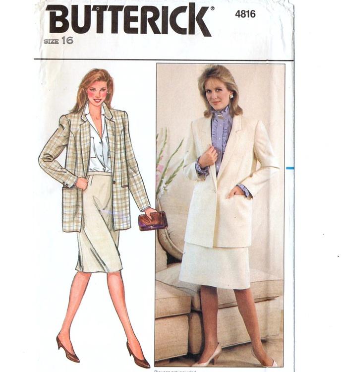 Butterick 4816 Misses Suit Jacket, Skirt 80s Vintage Sewing Pattern Uncut Size