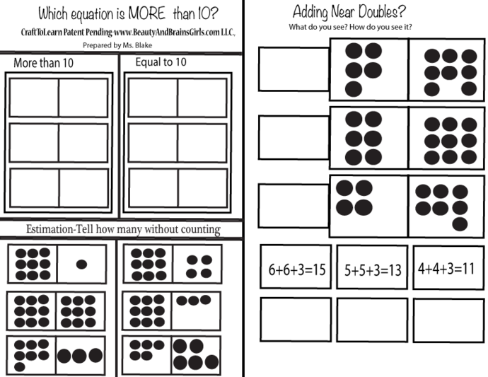 BOOK 3-Math Printable Adding Near Doubles-MoreThan 10 or Equal to 10