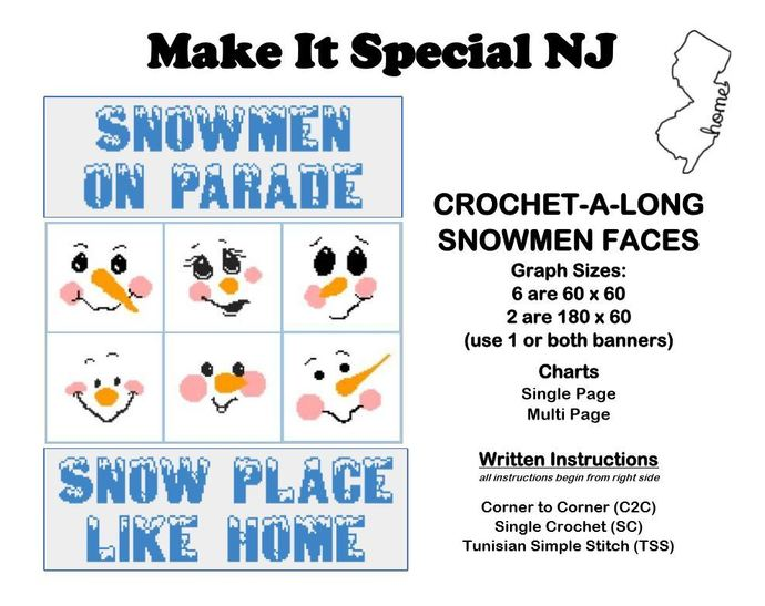 Snow Faces Crochet-A-Long (CAL): Complete Set with 2 Banners