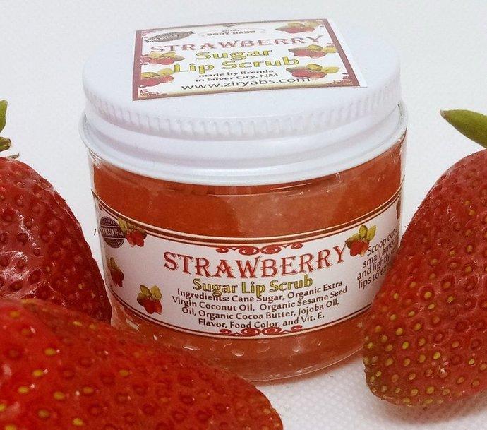 Strawberry Sugar Lip Scrub | Lip Exfoliation | Edible Lip Scrubs