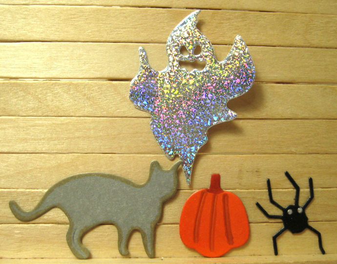 4pc Halloween Spider, Cat, Pumpkin and Ghost Cutting Die Set