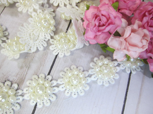 Flower Center Shabby Chic Embroidered Beaded Applique - 1-inch Off White 5pcs