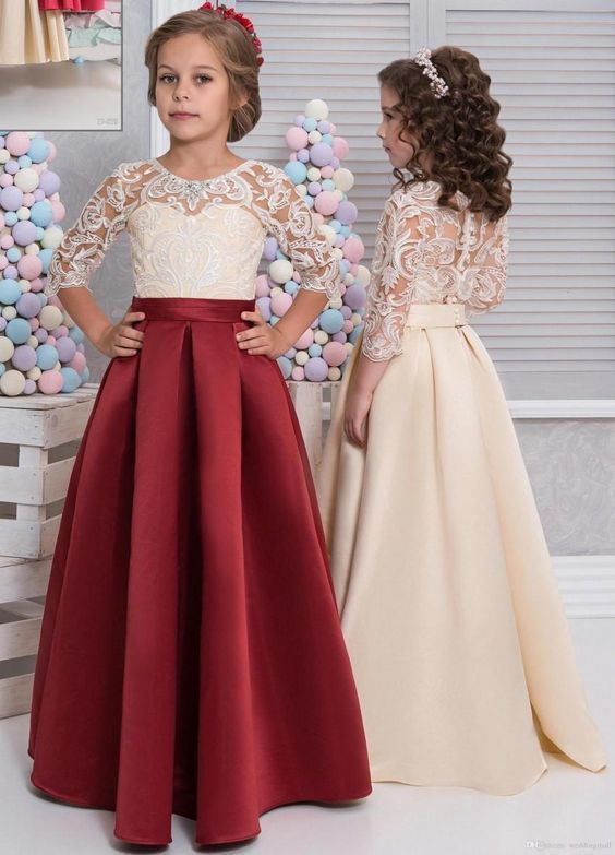 Floor Length Lace Satin Flower Girls Dresses 3/4 Long Sleeves Red Champagne Fall