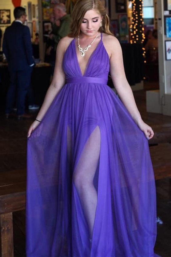 Purple Prom Dress, Long Simple Prom Dress Plus Size Prom Dresses