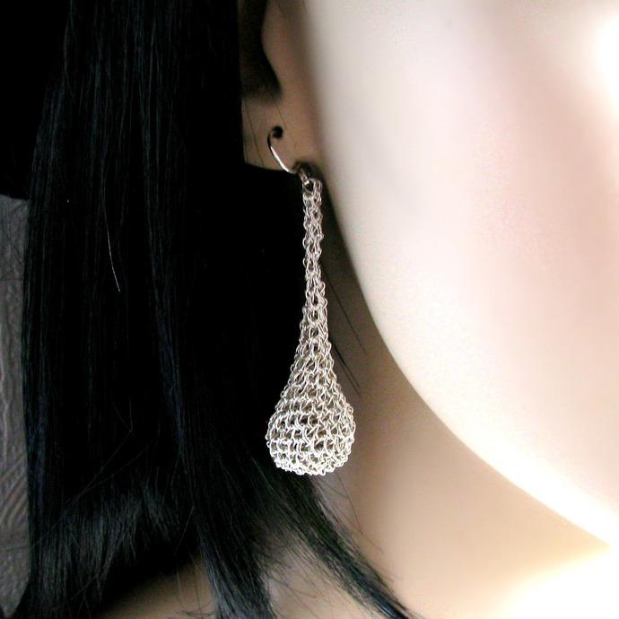 Long fine silver wire crochet drop earrings