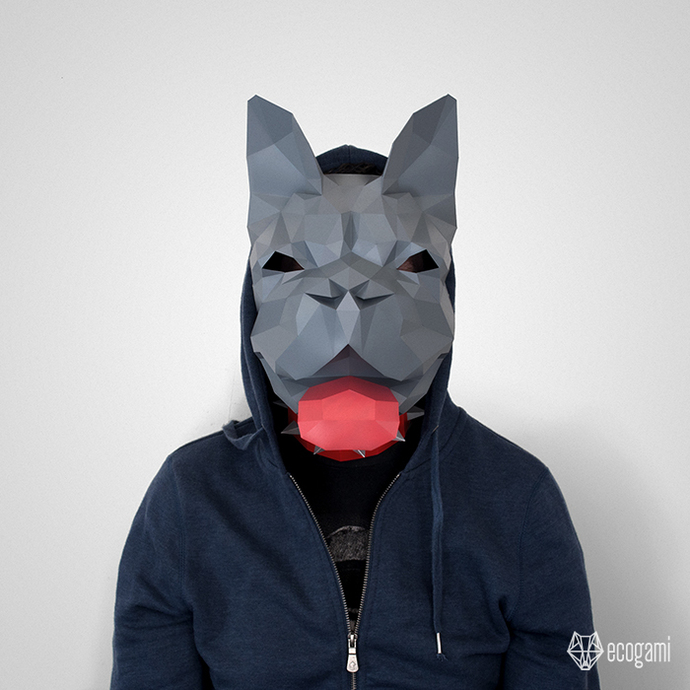 French bulldog printable paper mask, perfect for your Halloween disguise