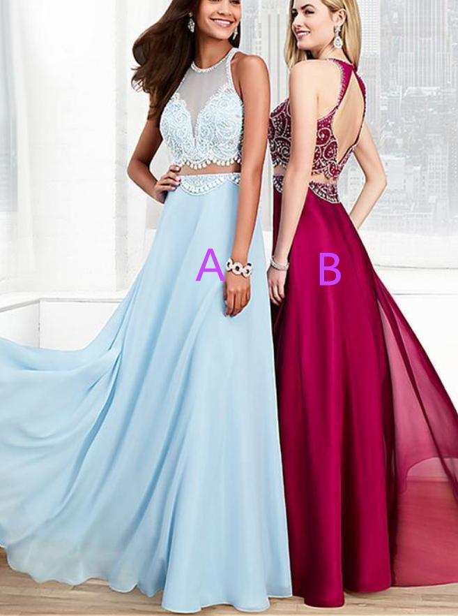 Halter Sheer Beaded Two-Piece A-line Floor-Length Prom Dress, Evening Dress
