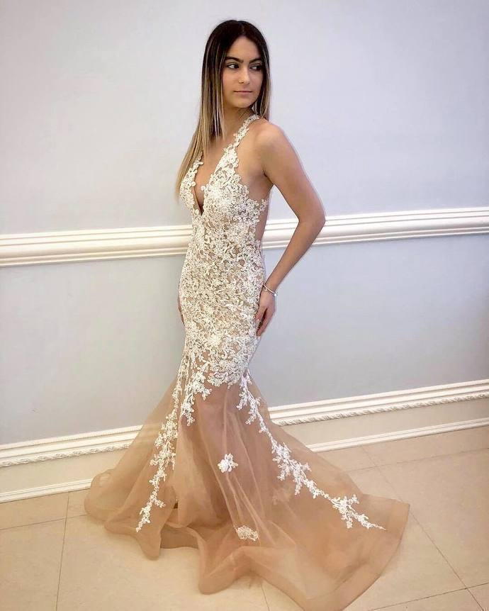 Charming Mermaid Champagne Open Back Long Evening Dress, Sexy Appliques Prom