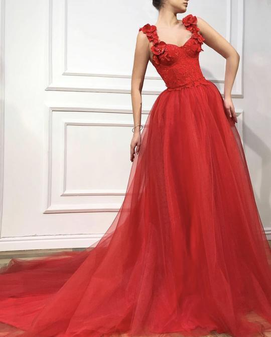Red Scarlet dress color Tulle dress fabric Handmade corset with embroidered