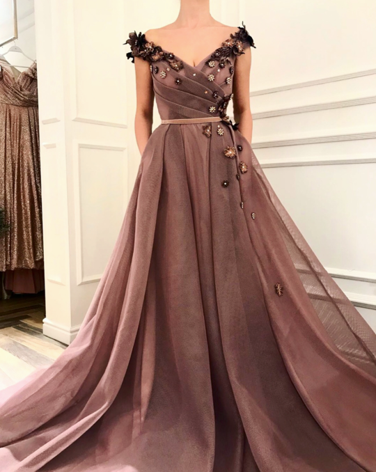 Sexy V-nek Prom Dresses,2019 Hot Sale Tulle Evening Dress,Long Prom Dress K3220