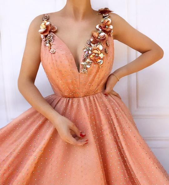 2019 Lace Long Prom Dresses,Applque Beading Evening Dress,Sexy Tulle Dresses