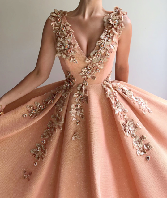 V-neck Applque Beading Prom Dresses.A-line Long Evening Dresses 2019 H6699