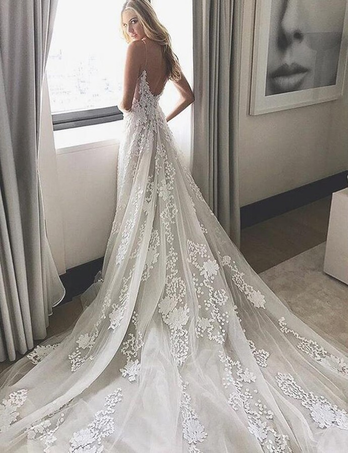 Wedding Dress, White Lace Long Wedding Dress, Bridal Gown W6655