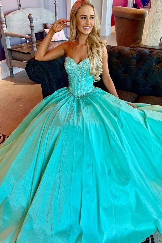 Blue sweetheart beads long prom dress, blue evening dress E8877