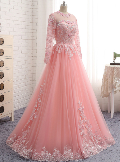 4e422c850 A-Line Pink Tulle Lace Appliques Long Sleeve Prom by lass on Zibbet