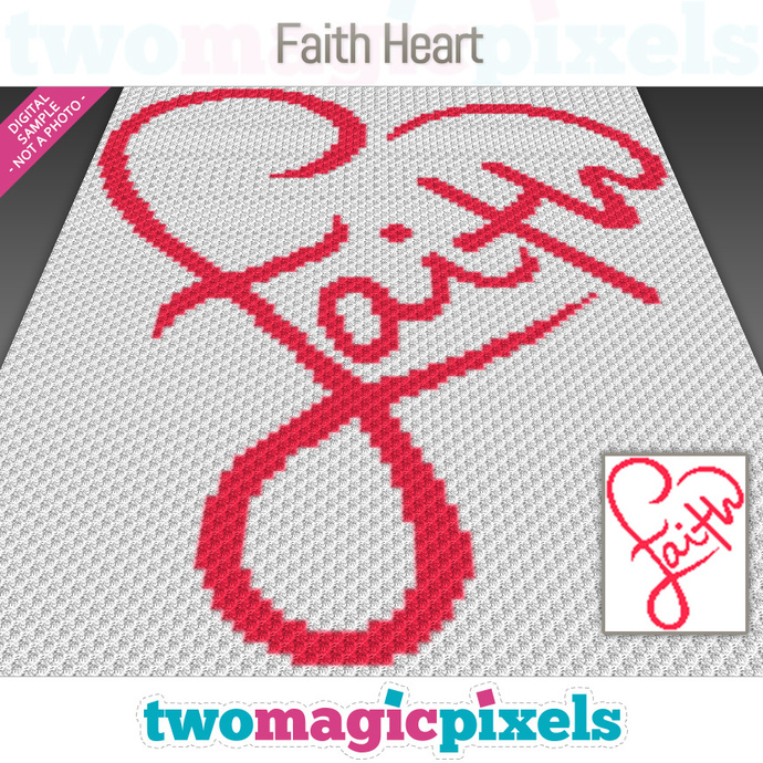 Faith Heart crochet graph (C2C, Mini C2C, SC, HDC, DC, TSS), cross stitch;