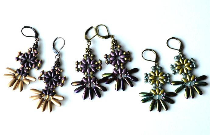 Skyflower Earrings Pattern by DatzKatz Designs